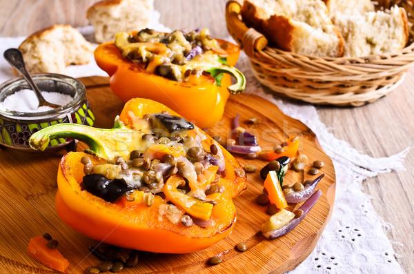 Stock fotó: Lencse · pörkölt · zöldségek · piros · paprika · sült · sajt
