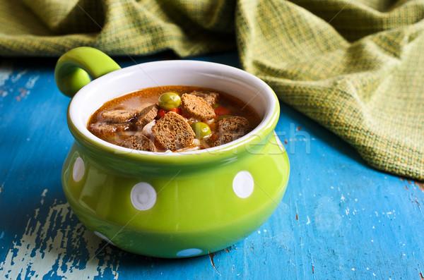 çorba küçük makarna sebze seramik çanak Stok fotoğraf © zia_shusha