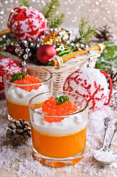Comida laranja creme queijo vermelho caviar Foto stock © zia_shusha