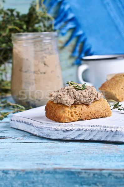 Wątroba kurczaka brązowy kawałek chleba drewna Zdjęcia stock © zia_shusha