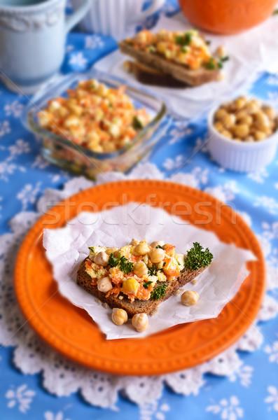 Szendvics répák sajt saláta sárgarépa étel Stock fotó © zia_shusha