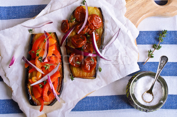Stock photo: Eggplant with vegetables