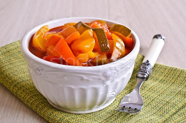 Saláta előkészített piros paprika cukkini gyönyörű kerámia Stock fotó © zia_shusha