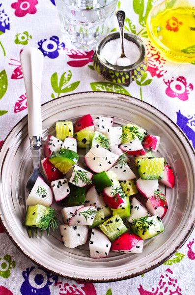 Stock photo: Salad of radish and cucumber