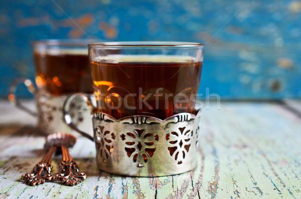 Bruin thee glas beker metaal oude Stockfoto © zia_shusha