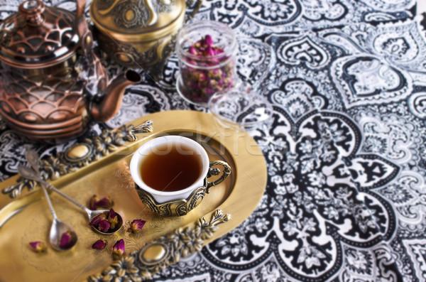 Chá rosas belo copo motivos Foto stock © zia_shusha