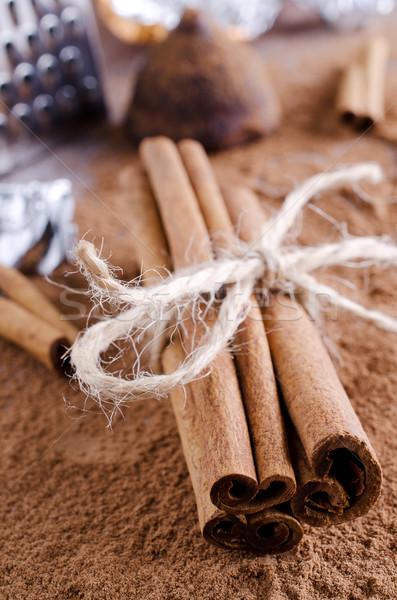 Fahéj együtt sötét por fűszer Stock fotó © zia_shusha