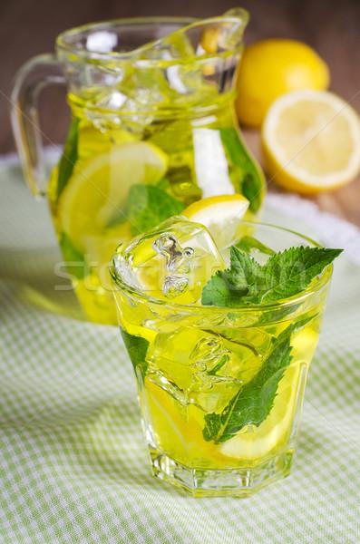 Limonádé hűtés ital citromsárga jég menta Stock fotó © zia_shusha