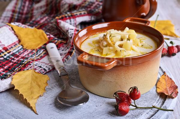 Soep pasta witte groenten voedsel tabel Stockfoto © zia_shusha