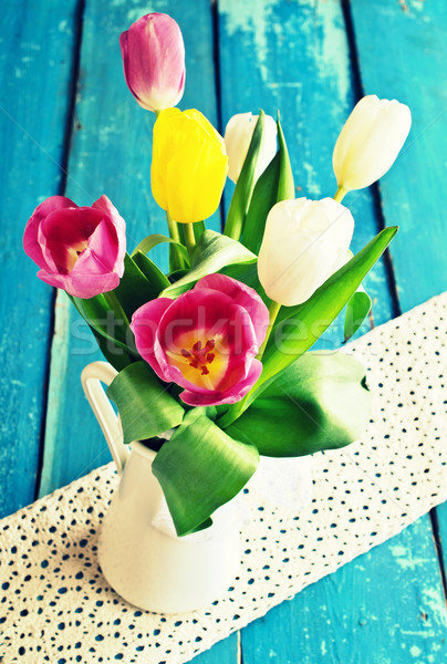 Tulips of different colors in the vase  Stock photo © zia_shusha