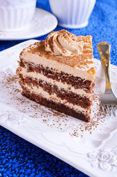 Marrom bolo creme cortar peça prato Foto stock © zia_shusha