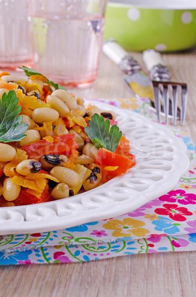 Bab zöldségek bab saláta fehér tányér Stock fotó © zia_shusha
