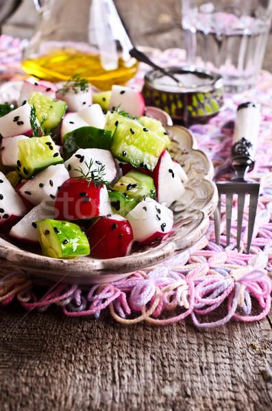 Photo stock: Salade · radis · concombre · santé · pétrolières