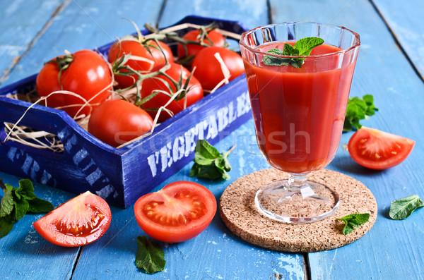 Tomatensap glas beker vak tomaten houten Stockfoto © zia_shusha