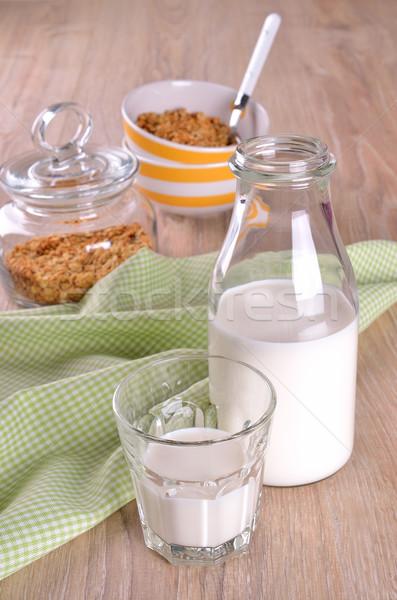 üveg üveg tej fából készült felület reggeli Stock fotó © zia_shusha