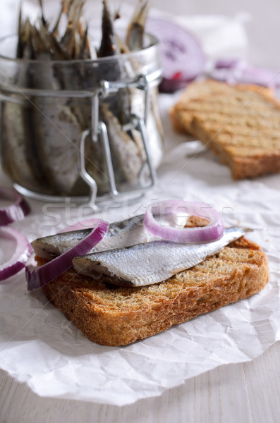 Sandwich with anchovies Stock photo © zia_shusha