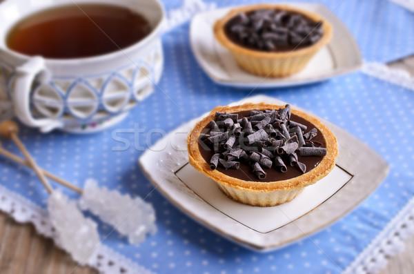Chocolat chocolat noir blanche soucoupe table thé Photo stock © zia_shusha