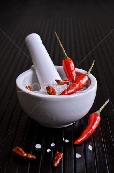 кайенский перец перец красный сырой соль белый Сток-фото © zia_shusha
