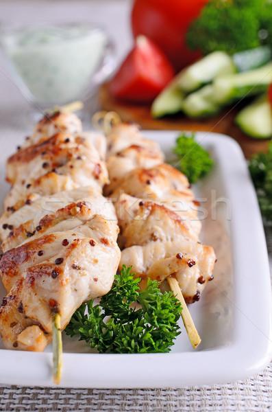 Tyúk kebab LA grillcsirke fából készült étel Stock fotó © zia_shusha