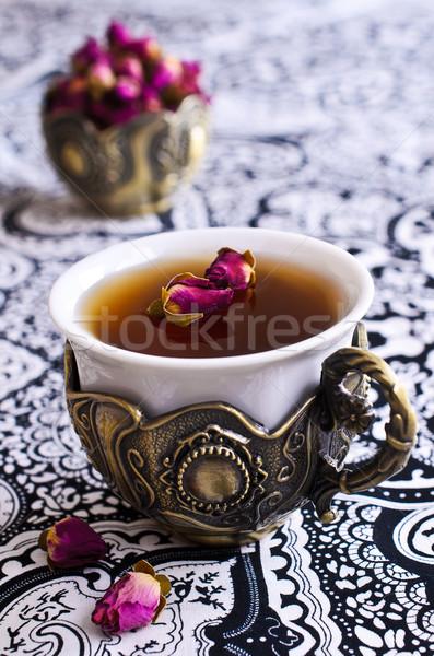 Tee Rosen schönen Tasse orientalisch Motive Stock foto © zia_shusha