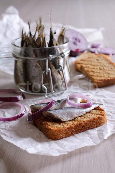 Sandwich gemarineerd Rood uien vis natuur Stockfoto © zia_shusha