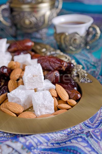 Datolya édesség diók hagyományos tea buli Stock fotó © zia_shusha