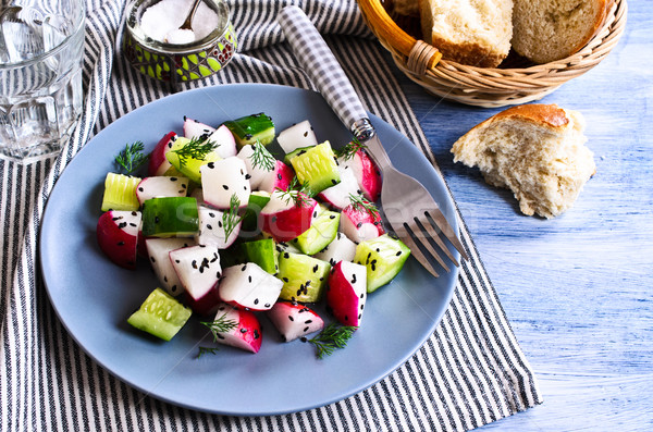 Stock photo: Salad of radish and cucumber