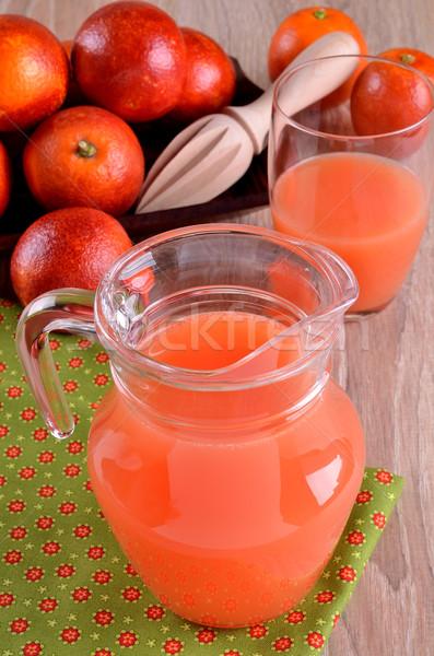 Meyve suyu portakal suyu cam sürahi gıda ahşap Stok fotoğraf © zia_shusha