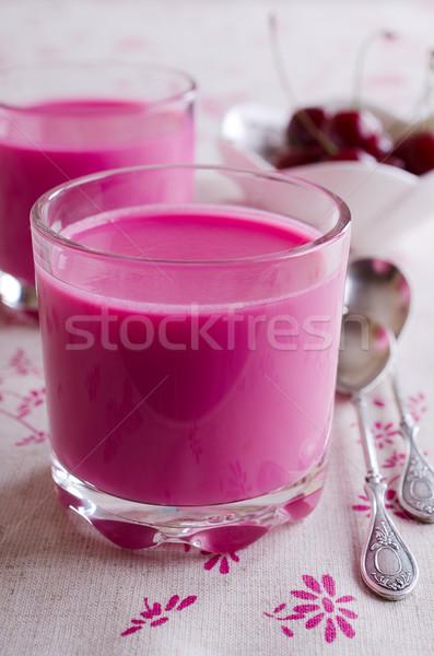 Rosa sobremesa deserto rosa cor vidro Foto stock © zia_shusha