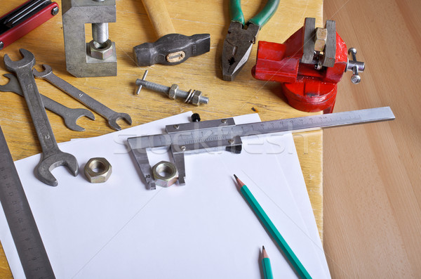 Stock photo: The measuring tool and white sheets