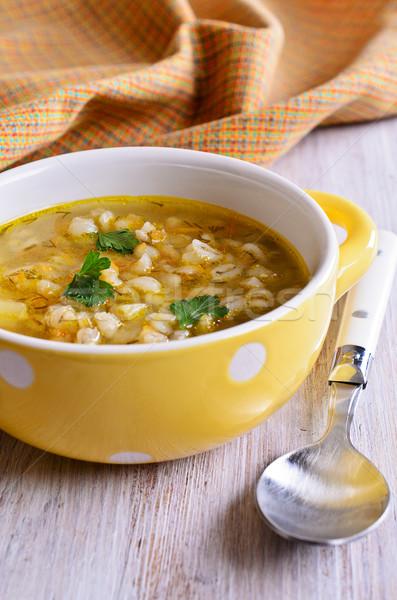Sopa perla cebada hortalizas placa alimentos Foto stock © zia_shusha