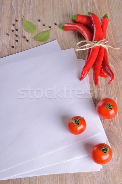 Fehér oldalak szöveg különböző zöldségek fa Stock fotó © zia_shusha