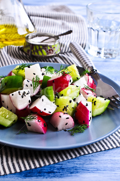 Stockfoto: Salade · radijs · komkommer · gezondheid · olie