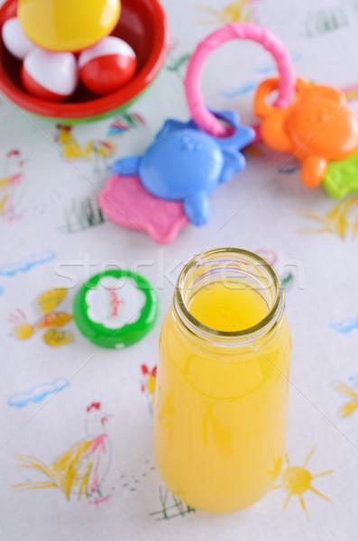 Crianças comida crianças laranja vidro Foto stock © zia_shusha