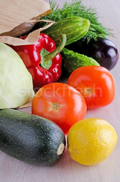Zöldségek friss különböző papírzacskó papír étel Stock fotó © zia_shusha