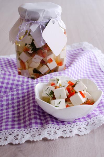 Sajt fehér olaj zöldségek gyümölcs csésze Stock fotó © zia_shusha