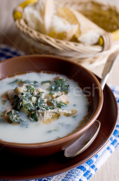Stok fotoğraf: çorba · beyaz · balık · yeşil · süt