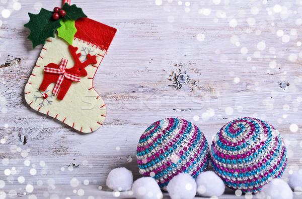 Stockfoto: Christmas · teen · sneeuw · decoraties · groene · leuk