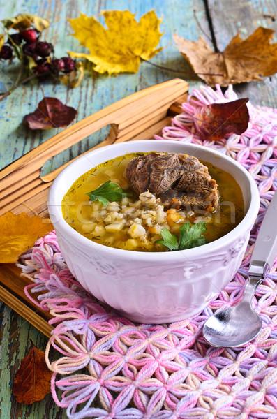 Soep parel gerst vlees groenten kom Stockfoto © zia_shusha