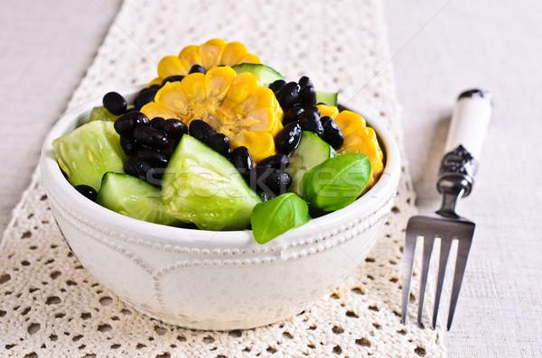 Feijão salada legumes preto feijões pepino Foto stock © zia_shusha