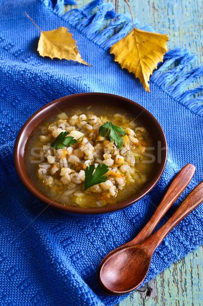 Soep parel gerst groenten plaat tabel Stockfoto © zia_shusha