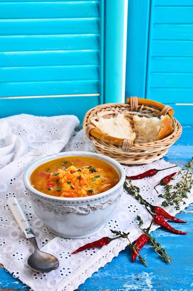 Stockfoto: Soep · Rood · groenten · keramische · plaat