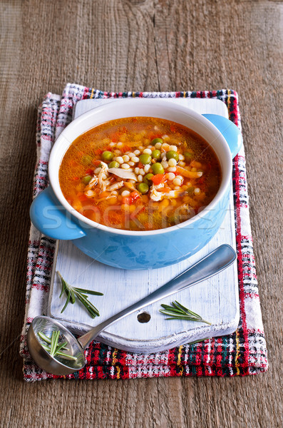 Soup with small pasta, vegetables and pieces of meat Stock photo © zia_shusha