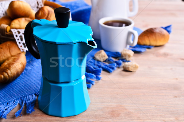 Koffiezetapparaat Blauw kleur croissants koffie Stockfoto © zia_shusha