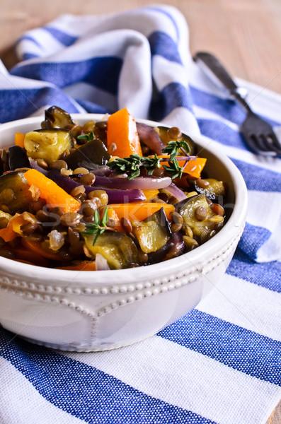 Stock fotó: Lencse · főtt · zöldségek · padlizsán · hagymák · étel