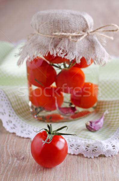 Koktélparadicsom piros fából készült felület dobozos paradicsomok Stock fotó © zia_shusha