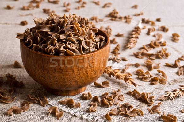 Pâtes brun pas cuit pan serviette Photo stock © zia_shusha