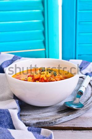 Soup of red lentils and vegetables Stock photo © zia_shusha