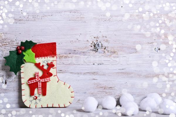 Karácsony lábujj hó díszítések zöld jókedv Stock fotó © zia_shusha
