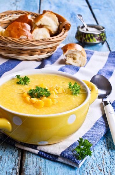 Mais soep grond bonen Geel plaat Stockfoto © zia_shusha
